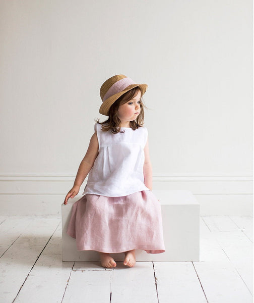 Rose Linen Girl's Skirt - The Linen Works (217265799178) (4469619523661)