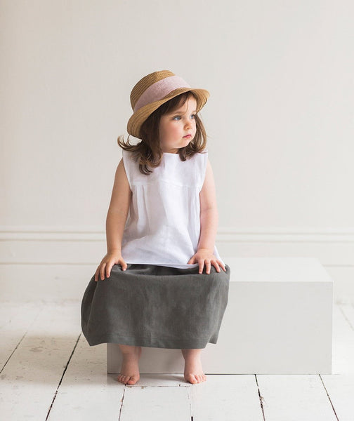 Charcoal Linen Girl's Skirt - The Linen Works (217271926794) (4469630435405)
