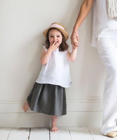 Charcoal Linen Girl's Skirt - The Linen Works (217271926794) (4469630304333)