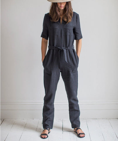 Black Linen Jumpsuit - The Linen Works (4463965962317)