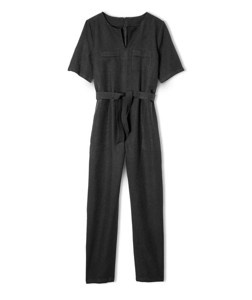 Black Linen Jumpsuit - The Linen Works (4463964946509)