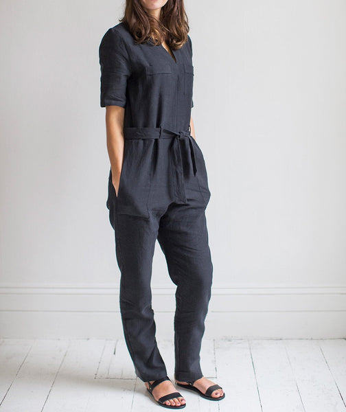 Black Linen Jumpsuit - The Linen Works (239166259210)
