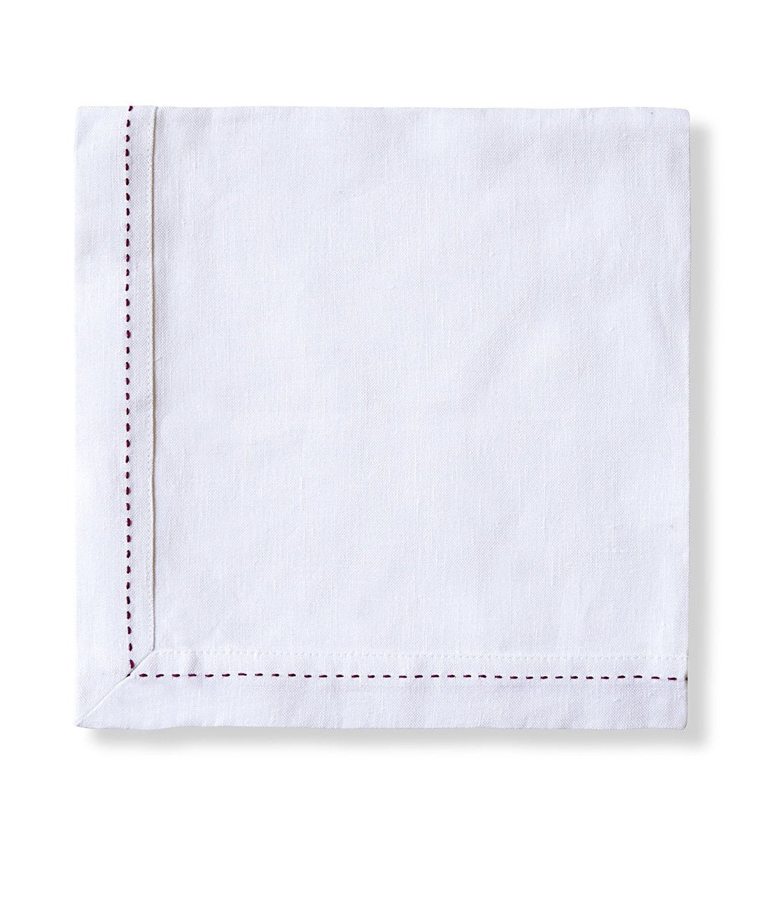 product|white with raspberry stitching