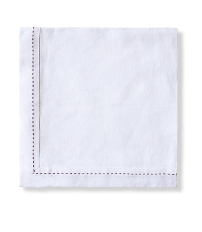 White with Raspberry Stitch Linen Napkin Crisp Mitered Hem Collection - The Linen Works (4460212420685)