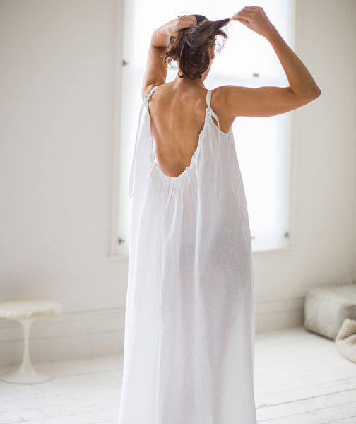 White Linen Night Dress - The Linen Works