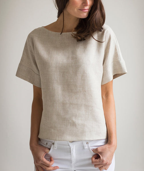 Oatmeal Linen Short Sleeve Top - The Linen Works (217298960394)