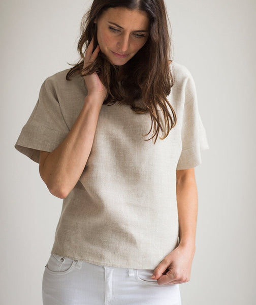 Oatmeal Linen Short Sleeve Top - The Linen Works (4463644311629)