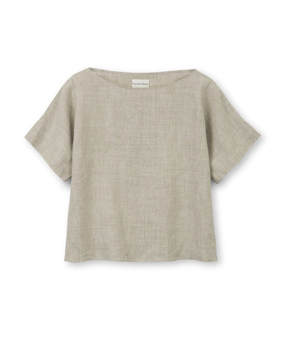 Oatmeal Linen Short Sleeve Top - The Linen Works (4463643623501)