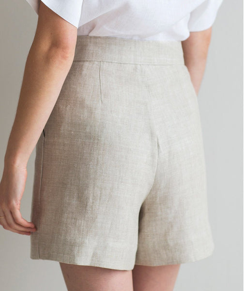Oatmeal Linen Shorts - The Linen Works (248010342410)