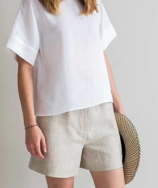 Oatmeal Linen Shorts - The Linen Works (4463675080781)