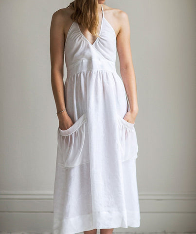 Linen Silk Pocket Dress  (4463952527437)