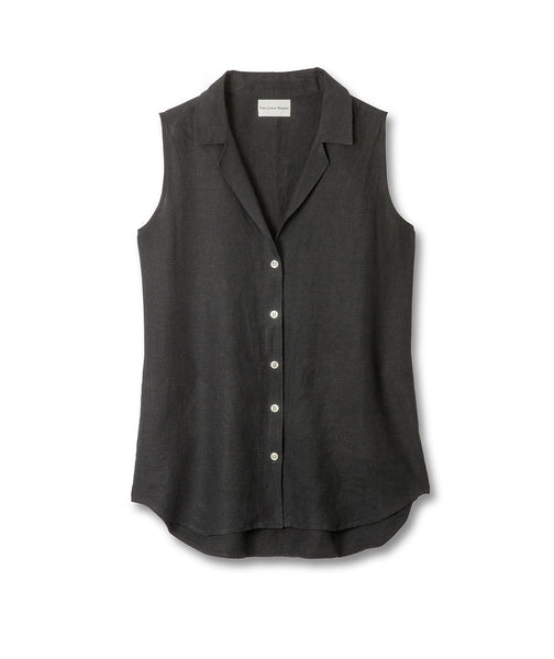 Black Linen Sleeveless Shirt - The Linen Works (217368756234)
