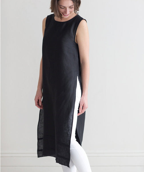 Black Linen Tunic - The Linen Works (217308037130)