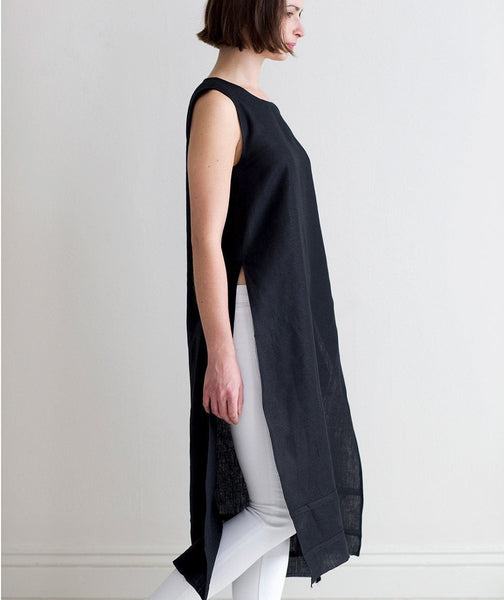 Black Linen Tunic - The Linen Works (4463695462477)