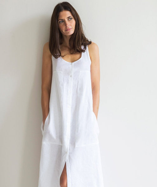 White Linen Twist Back Dress - The Linen Works (248042913802)