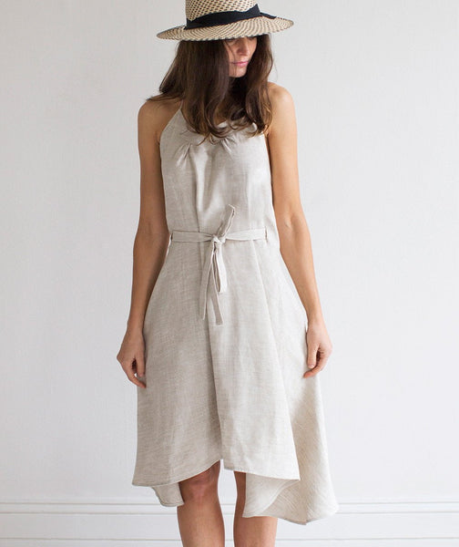 Oatmeal Linen Wrap Dress - The Linen Works (4463707619405)