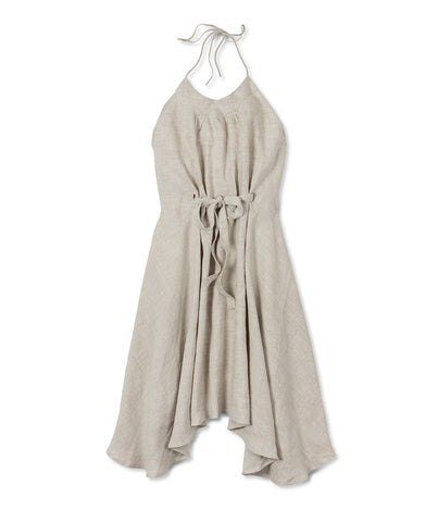 Oatmeal Linen Wrap Dress - The Linen Works (217527517194)