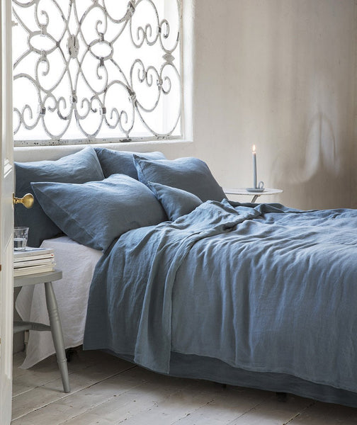 Parisian Blue Linen Flat Sheet - The Linen Works