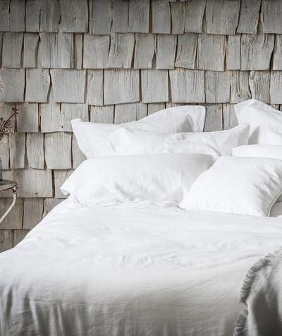 Classic White Pure Linen Duvet Covers The Linen Works London