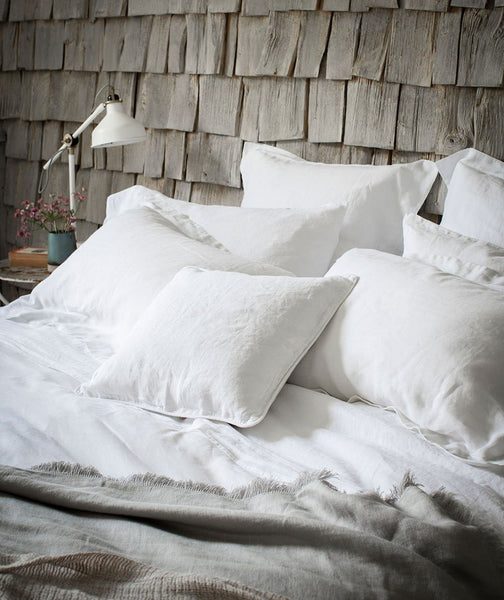 Square Classic White Linen Pillowcase Hemstitch - The Linen Works (4461729873997)