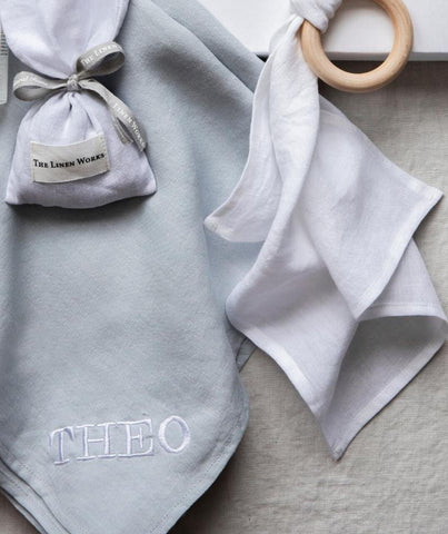 duck egg linen new born gift set (4347733475405)