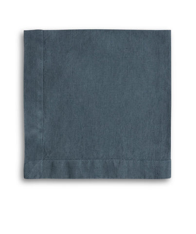 Parisian Blue Linen Napkin Mitered Hem Collection - The Linen Works