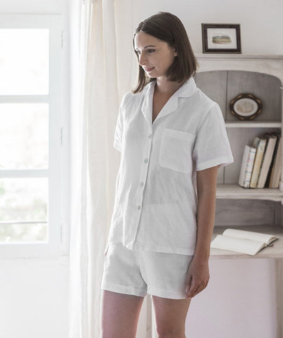 White Linen Short Pyjamas - The Linen Works (217558646794)