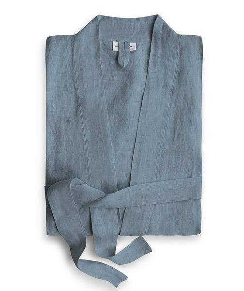 Parisian Blue Linen Bath Robe - The Linen Works (217480200202)