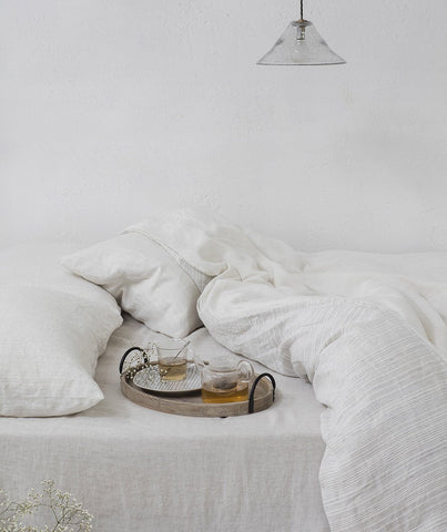 Pale Grey Stripe Linen Pillowcase Lario Collection - The Linen Works