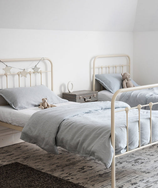 Moustier Duck Egg Linen Duvet Cover - The Linen Works