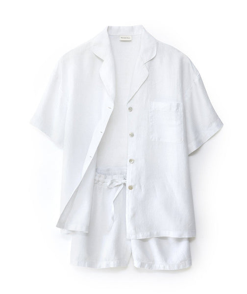 White Linen Short Pyjamas - The Linen Works