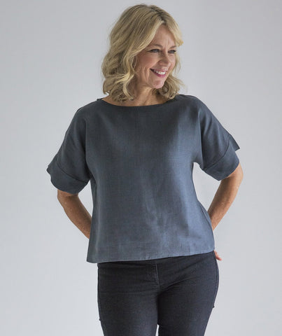 Anthracite Linen Short Sleeve Top - The Linen Works (217281265674)