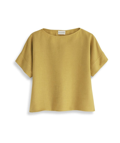 Mustard Linen Short Sleeve Top - The Linen Works (217289031690)
