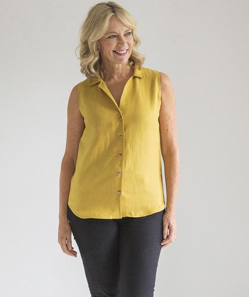 Mustard Linen Sleeveless Shirt - The Linen Works (217355550730)
