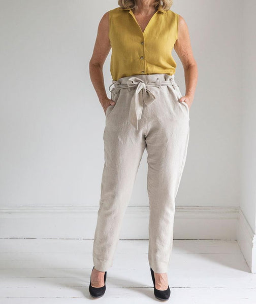 Flax Linen Belted Trousers - The Linen Works (248062443530)