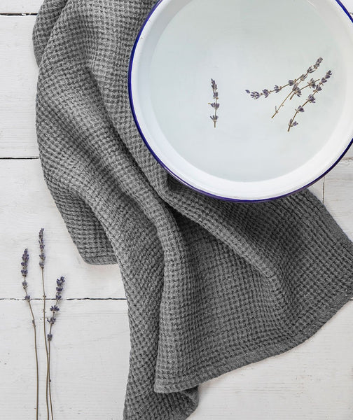 Charcoal Linen Waffle Hand Towel - The Linen Works (217865388042)