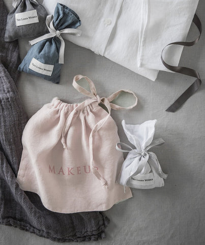 Rose Linen Makeup Bag - The Linen Works