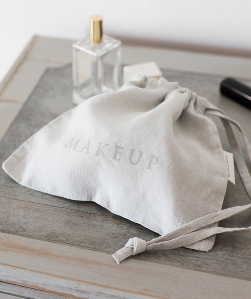 Dove Grey Linen Makeup Bag - The Linen Works