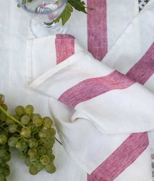 Raspberry Stripe Linen Placemat Arles Collection - The Linen Works (4460171591757)