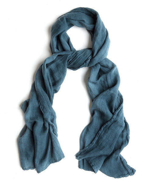 Petrol Linen Scarf Thick - The Linen Works (217880625162)