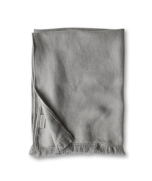 Pale Grey Fringe Linen Hand Towel - The Linen Works (248136007690)