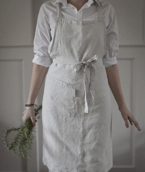 Dove Grey Linen Apron - The Linen Works (217272811530)