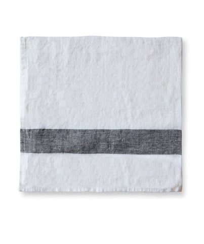 Charcoal Stripe Linen Napkin Arles Collection - The Linen Works