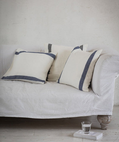 Navy Stripe Linen Cushion Cover Arles Collection - The Linen Works
