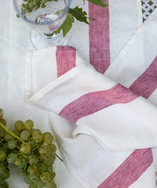 Raspberry Stripe Linen Napkin Arles Collection - The Linen Works (4460177981517)