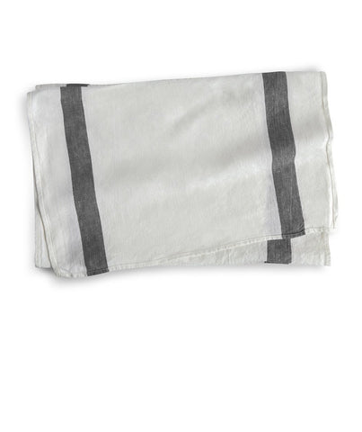 Charcoal Stripe Linen Table Runner Arles Collection - The Linen Works