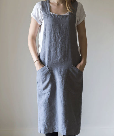 Charcoal Linen Artisan Cross Over Apron - The Linen Works (217290145802)