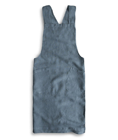 Parisian Blue Linen Artisan Cross Over Apron - The Linen Works (217278382090)