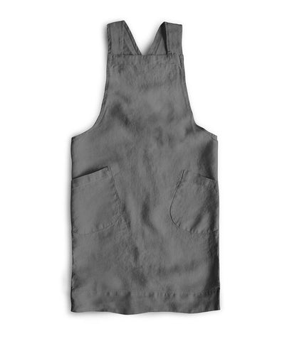 Charcoal Linen Children's Cross Over Apron - The Linen Works (217458475018)