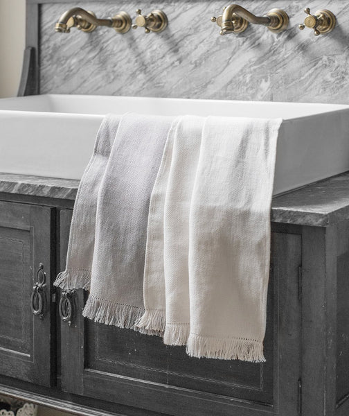 Pale Grey Fringe Linen Hand Towel - The Linen Works